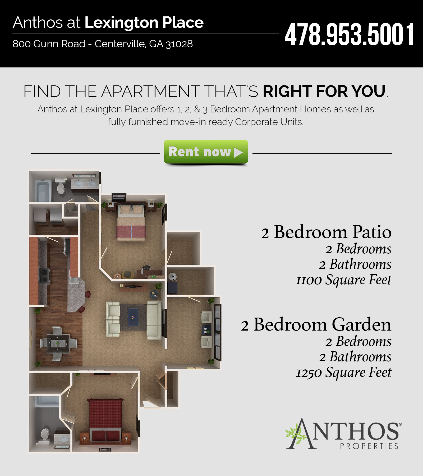 2 bedroom apartment in warner robins anthos properties for 2 bedroom apartments in georgia